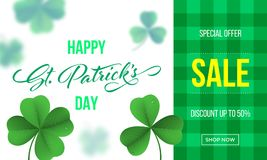 Happy Saint Patrick`s day sale banner with shamrock clover on green gingham background. Vector St Patrick sale lettering. For Feast of Saint Patrick festival stock illustration