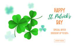 Happy Saint Patrick`s day sale banner with shamrock clover on white background. Vector St Patrick sale lettering. For Feast of Saint Patrick festival poster day Royalty Free Stock Photo