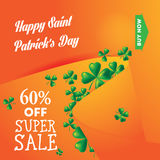 Happy Saint Patrick`s Day scatter shamrock card. Royalty Free Stock Photo