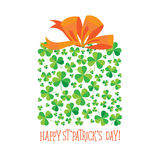 Happy Saint Patrick`s Day scatter shamrock card. Royalty Free Stock Photography