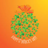 Happy Saint Patrick`s Day scatter shamrock card. Stock Photos