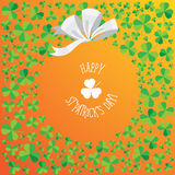 Happy Saint Patrick`s Day scatter shamrock card. Stock Photography