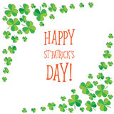 Happy Saint Patrick`s Day scatter shamrock card. Royalty Free Stock Images