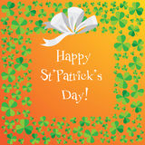 Happy Saint Patrick`s Day scatter shamrock card. Stock Images