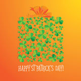 Happy Saint Patrick`s Day scatter shamrock card. Stock Image