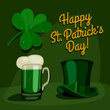 Happy saint patrick's day set. Cartoon  vector illustration Royalty Free Stock Photo