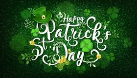 Happy Saint Patrick s Day Vector Illustration. With Green Leprechaun Hat, Clower, Shamrock, Gold Coins, Treasures vector illustration