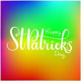 Happy Saint Patrick`s Day Vector illustration. Irish celebration design. Hand drawn badge with shamrock and rainbow. Happy Saint Patrick`s Day Vector Stock Images