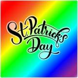 Happy Saint Patrick`s Day Vector illustration. Irish celebration design. Typography badge with shamrock and rainbow. Happy Saint Patrick`s Day Vector Royalty Free Stock Photos
