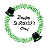 Happy Saint Patricks day graphic with hats and circle shamrock frame Royalty Free Stock Image