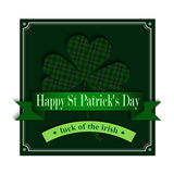 Happy Saint Patricks Day Greeting Card. With shamrock in green Royalty Free Stock Photography
