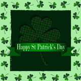 Happy Saint Patricks Day Greeting Card. With shamrock in green Stock Photos
