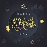 Happy saint Patricks day greeting poster. With lettering text and golden glitter clover leaves. Vector illustration vector illustration