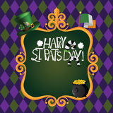 Happy Saint Patricks Day hand drawn lettering background Royalty Free Stock Photos