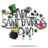 Happy Saint Patricks Day hand drawn lettering Royalty Free Stock Photos