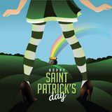 Happy Saint Patricks Day legs hills and pot of gold Stock Photo