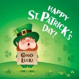 Happy Saint Patricks Day! Leprechaun on the clover field. Happy Saint Patricks Day. Leprechaun on the clover field Royalty Free Stock Photo