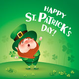 Happy Saint Patricks Day! Leprechaun on the clover field. Happy Saint Patricks Day. Leprechaun on the clover field Royalty Free Stock Image
