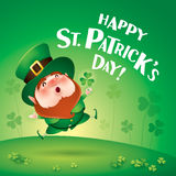 Happy Saint Patricks Day! Leprechaun on the clover field. Happy Saint Patricks Day. Leprechaun on the clover field Stock Images