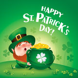 Happy Saint Patricks Day! Leprechaun on the clover field. Happy Saint Patricks Day. Leprechaun on the clover field Stock Image