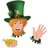 Happy Saint Patricks Day leprechaun with gold coins Stock Photography
