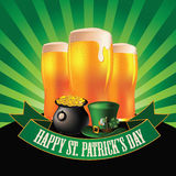 Happy Saint Patrick's Day light beer burst design Stock Photos