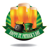 Happy Saint Patrick's Day light beer burst icon Stock Images