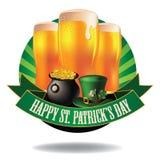 Happy Saint Patrick's Day light beer burst icon Stock Images