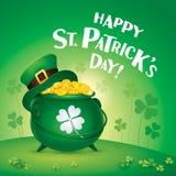 Happy Saint Patricks Day! St. Patricks Day symbol. Pot of gold. Stock Photo