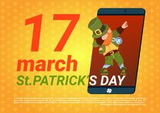 Happy Saint Patricks Day Template Background With Green Leprechaun In Smart Phone. Flat Vector Illustration Stock Photo