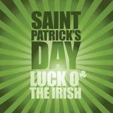 Happy Saint Patricks Day text and burst Stock Photos