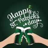 Happy Saint Patricks Day toasting hands Stock Photography