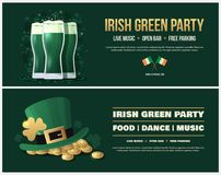 Happy Saint Patricks Day. Poster, flyer for parties and holidays. Happy Saint Patricks Day. Vector banners with green Leprechaun hat and gold coins, glasses of Stock Photography