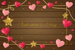 Happy Saint Valentine`s day card with pink hearts on brown wood background. Vector stock illustration