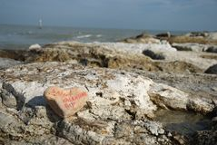 Happy Saint Valentine's on the rocks Royalty Free Stock Photos