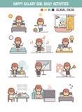 Happy salary girl daily life routine cartoon character Royalty Free Stock Photo