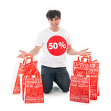 Happy with sale Royalty Free Stock Image