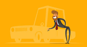 Happy salesman, businessman handing car keys. Stylish businessman-hipster. Vector illustration. Stock Photography