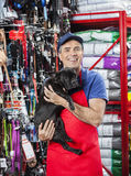 Happy Salesman Carrying French Bulldog In Pet Store Stock Images