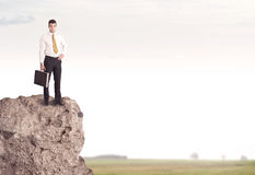 Happy salesman on cliff in the country Royalty Free Stock Photo