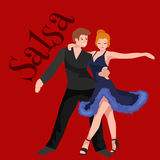 Happy Salsa dancers couple isolated on white icon pictogram, man and woman in dress dancing salsa with passion, people vector illustration