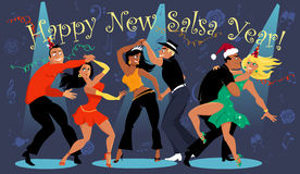 Happy Salsa New Year. People dancing at the New Year's eve salsa dance party, EPS 8 vector illustration, no transparencies Royalty Free Stock Photo