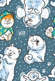 Happy samoyed puppies in the snow. Vector endless background. Seamless pattern with happy siberian husky and samoyed puppies in the snow. Vector illustration Stock Photography