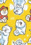 Happy samoyed puppies in the snow. Vector endless background. Seamless pattern with happy siberian husky and samoyed puppies in the snow. Vector illustration Royalty Free Stock Photo