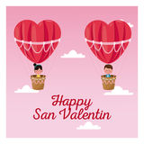 Happy san valentine boy and girl flying heart airballoon valentine day pink sky Royalty Free Stock Photos