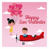Happy san valentine card boy plane and girl flying balloons Stock Photography