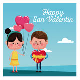 Happy san valentine card girl branch balloons and boy with red heart Stock Image