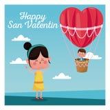 Happy san valentine girl happy boy heart airballoon valentine day blue sky Royalty Free Stock Photo