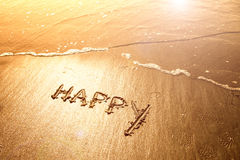 Happy sand handwriting Royalty Free Stock Photos