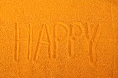 Happy sand writing Royalty Free Stock Photo